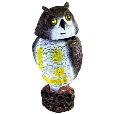 16 in. Solar Powered Garden Owl Decoy Pest Repellant with LED Light Up Eyes & Screech Sound Setting