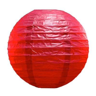 10 in. Red Round Paper Lanterns (5-Count)
