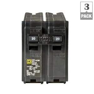 Homeline 20 Amp 2-Pole Circuit Breaker (3-Pack)