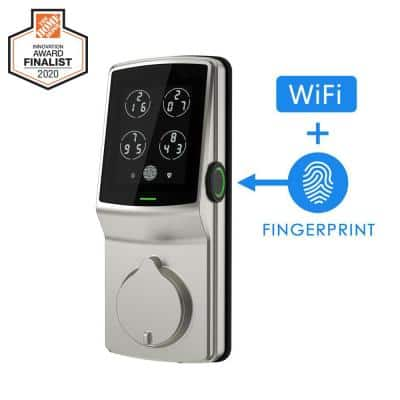 Secure PRO Satin Nickel Smart Lock Deadbolt with 3D Fingerprint and Wi-Fi (Works with Alexa and Google Home)