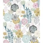 Perennial Blooms Pink Vinyl Peel & Stick Wallpaper Roll (Covers 28.18 Sq. Ft.)