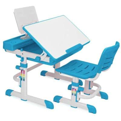 30.25 in. Blue Kids Desk Interactive Work Station Learning Table Set W/ Chair