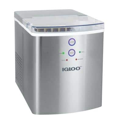 33 lbs. Portable Ice Maker in Stainless Steel