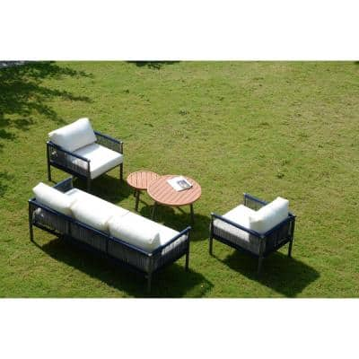 Michelle 5-Piece Aluminum Outdoor Sofa Set with White Cushions