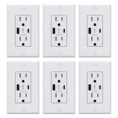 25-Watt 15 Amp Type A & C Dual USB Wall Charger with Duplex Tamper Resistant Outlet Wall Plate Included, White (6-Pack)