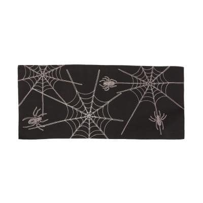 0.1 in. H x 36 in. W x 16 in. D Halloween Spider Web Double Layer Table Runner in Black