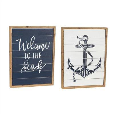 Home is Where You Set Your Anchor Double Sided Shutter Sign Wall Decor
