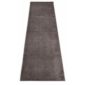 Euro Solid Grey 26 in. Width x Your Choice Length Custom Size Runner Rug