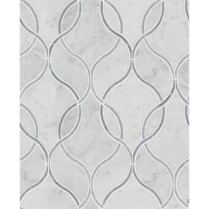 Carrara White Ellipsis 8.66 in. x 11.63 in. x 1 0mm Polished Marble Mesh-Mounted Mosaic Tile (3.20 sq. ft. / Case)