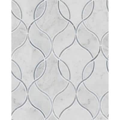 Carrara White Ellipsis 8.66 in. x 11.63 in. x 10 mm Polished Marble Mosaic Tile (3.20 sq. ft. / case)