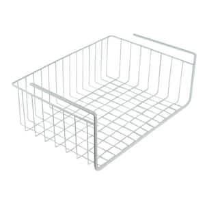 17 in. White Wire Under Shelf Storage Organization Basket