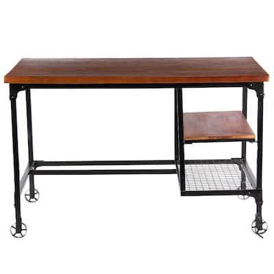 48 in. Rectangular Brown/Black Writing Desk