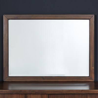 Medium Rectangle Brown Mirror (28 in. H x 38 in. W)