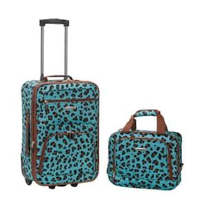 Fashion Expandable 2-Piece Carry On Softside Luggage Set, Blue Leopard