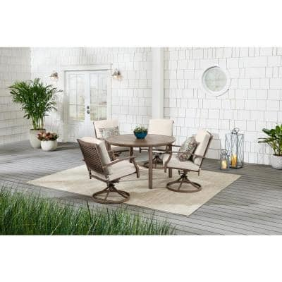 Geneva Brown Wicker Outdoor Patio Swivel Dining Chair with CushionGuard Almond Tan Cushions (2-Pack)