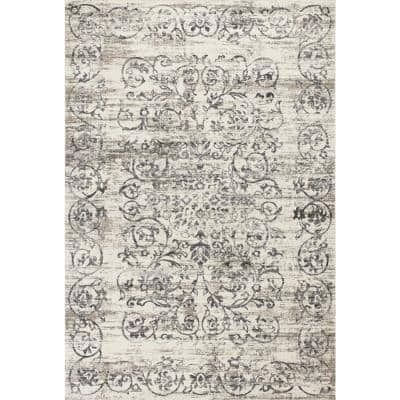 Bernadette Ivory/Grey 7 ft. x 11 ft. Rectangle Polypropylene Area Rug