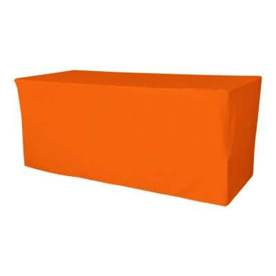 96 in. L x 30 in. W x 30 in. H Orange Polyester Poplin Fitted Tablecloth