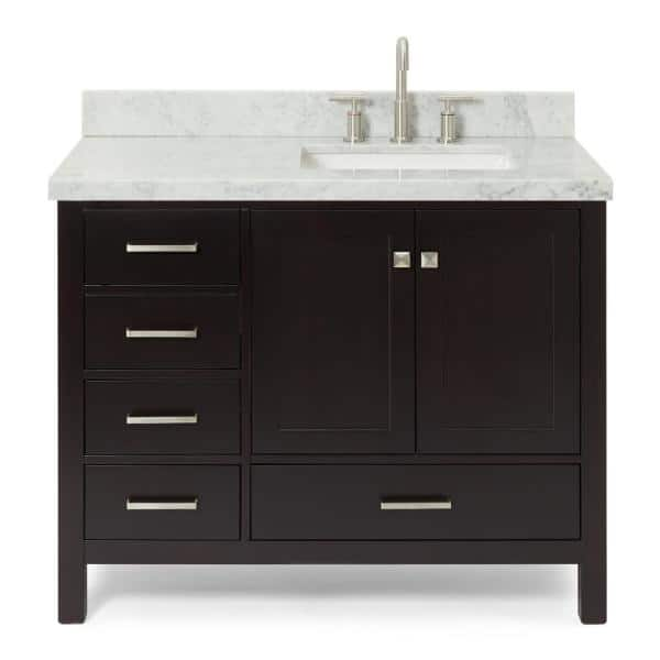 Ariel Cambridge 43 In Bath Vanity In Espresso With Marble Vanity Top In Carrara White With White Basin A043srcwrvoesp The Home Depot