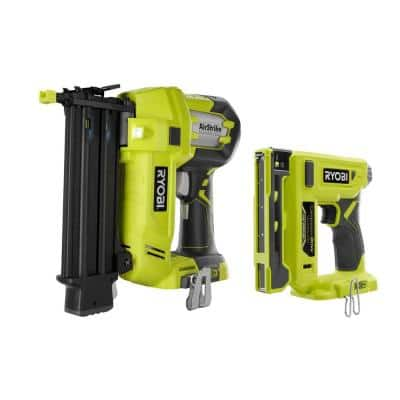 18-Volt ONE+ Cordless 18-Gauge AirStrike Brad Nailer with Compression Drive 3/8 in. Crown Stapler (Tools Only)