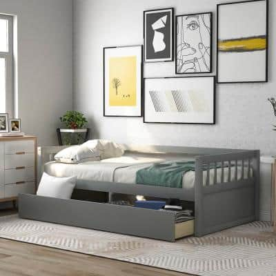 Gray Twin Size Wood Daybed with Inseparable 2-Drawers