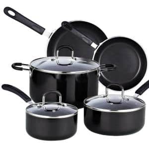 8-Piece Aluminum Nonstick Cookware Set in Black