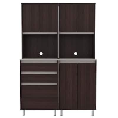 2-Piece Espresso and Ambar Grey Breakroom Cabinet