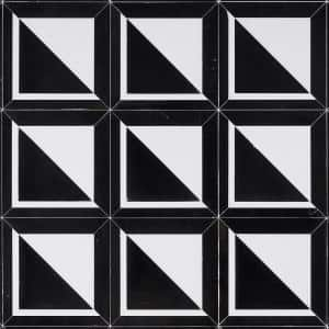 Ruit Square Black and White 8.5 in. x 8.5 in. Polished Marble Mosaic Tile (0.50 sq. ft./Each)