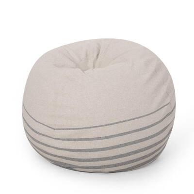 Guill Natural and Gray Fabric 5-Foot Striped Bean Bag
