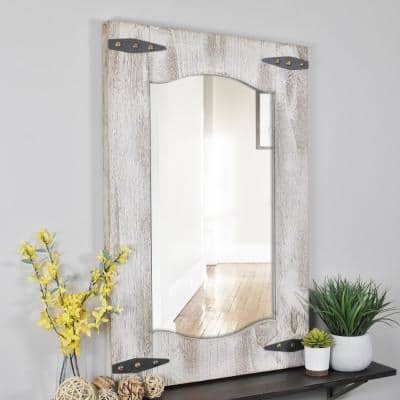 Medium Rectangle Tan/Ivory Contemporary Mirror (33.5 in. H x 1.5 in. W)