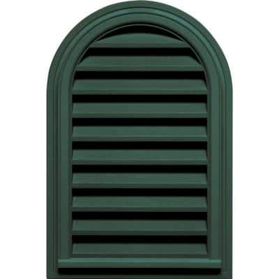 22 in. x 32 in. Round Top Plastic Built-in Screen Gable Louver Vent #028 Forest Green