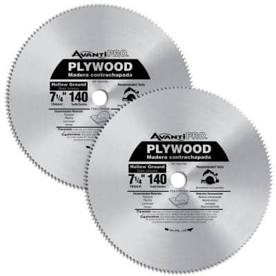 7-1/4 in. x 140-Teeth Hollow Ground Plywood Saw Blades (2-Pack)