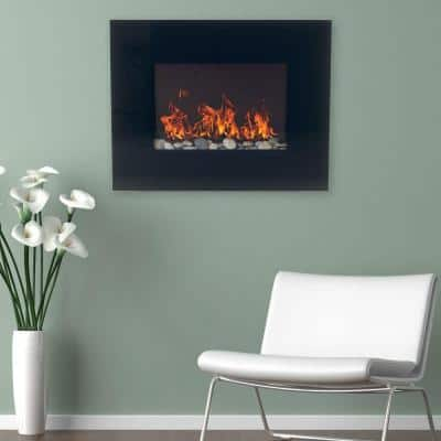 26 in. Glass Panel Wall Mount Electric Fireplace and Remote in Black