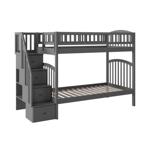 Atlantic Furniture Westbrook Grey Twin Over Twin Staircase Bunk | The Home Depot