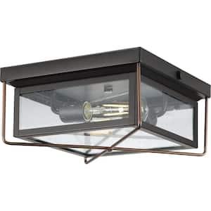 Barlowe 2-Light Antique Bronze Clear Seeded Glass Farmhouse Flush Mount Ceiling Light