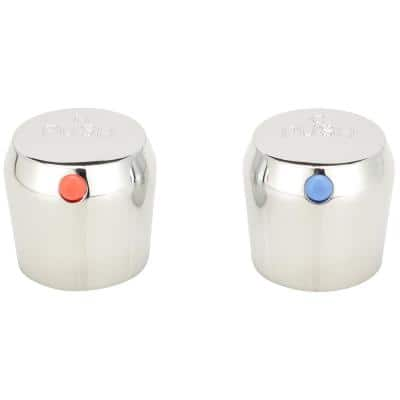 1.6 in. x 4 in. Chrome Plated Steel Ceramic Hot and Cold Metering/Push Handle with Red and Blue Index