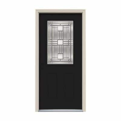 34 in. x 80 in. 1/2 Lite Cordova Black Painted Steel Prehung Right-Hand Inswing Front Door w/Brickmould