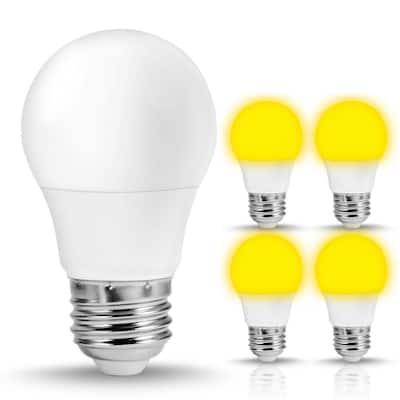 5-Watt, 40-Watt Equivalent A15 LED Bug Light Bulb E26 Base in Yellow-Colored 2000K (4-Pack)