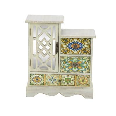 3-Drawer Classic Wood Jewelry Chest in Multicolored Lattice Patterns