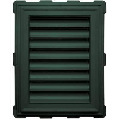 18 in in. x 24 in in. Rectangular Green Plastic Built-in Screen Gable Louver Vent