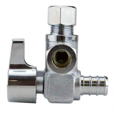 1/2 in. Chrome-Plated Brass PEX Barb x 3/8 in. Compression Dual Outlet Quarter-Turn Angle Stop Valve