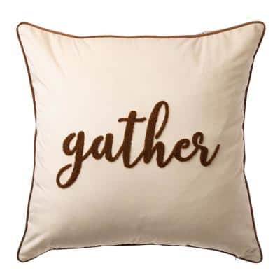 24 in.L X 24 in.W Velvet Pillow Cover With in.gather in.Word