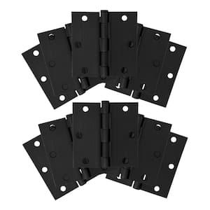 3-1/2 in. Square Corner Matte Black Door Hinge Value Pack (10 per Pack)