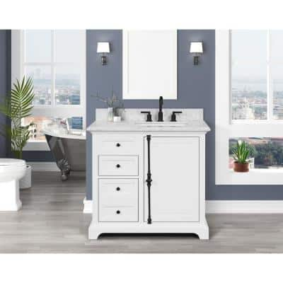 Loda 37 in. W x 22 in. D x 34.50 in. H Bath Vanity in White with Marble Vanity Top in White with White Basin