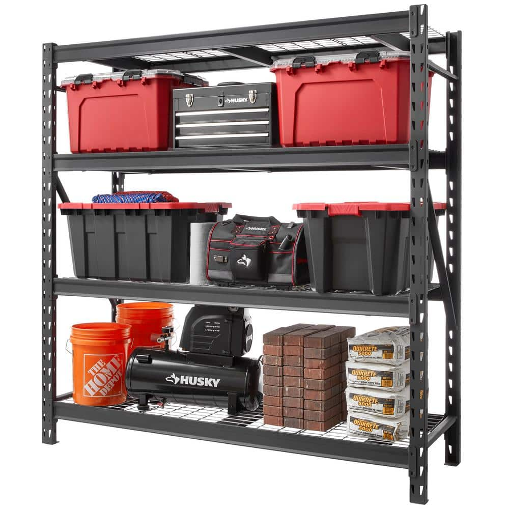 Husky Black 4 Tier Heavy Duty, Garage Tool Storage Ideas Home Depot