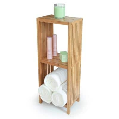 Deluxe 14 in. x 10 in. x 34 in. Freestanding Bathroom Organizing 3-Tier Shelf in Bamboo