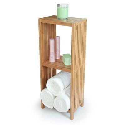 Deluxe 14 in. x 10 in. x 34 in. Freestanding Bathroom Organizing 3-Tier Shelf in Bamboo