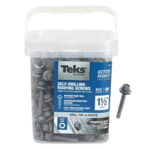#12 x 1-1/2 in. External Hex Drive Washer Head Roofing Screws (300-Pack)