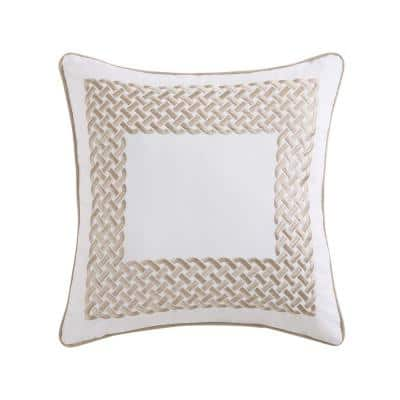 Tropical Plantation Tan and White Solid Hypoallergenic Down Alternative 18 in. x 18 in. Throw Pillow