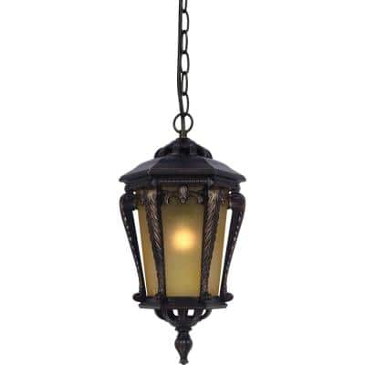 1-Light Indoor or Outdoor Golden Rust Aluminum Hanging Pendant with Tapered Champagne Bubble Glass