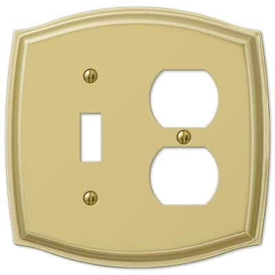Vineyard 2 Gang 1-Toggle and 1-Duplex Steel Wall Plate - Polished Brass